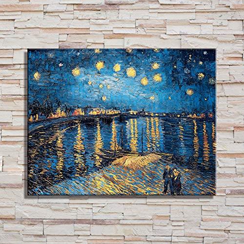 zlhcich Starry Night World Pittura A Olio su Tela Pittura Core Murale Ingresso Nordic Decorazione B 60 * 90cm (Disegno Core)