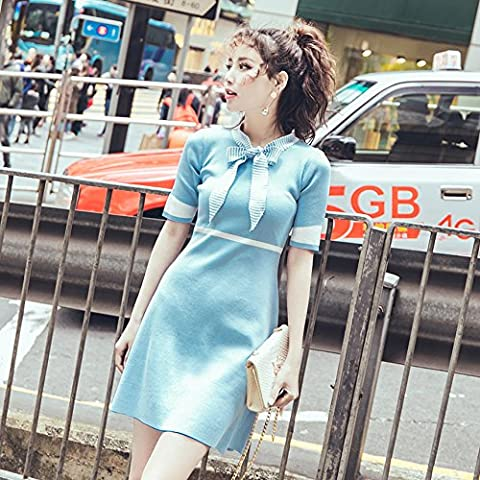 Institute of wind mosaic stripe butterfly bow tie knit dress woman