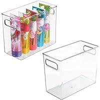 mDesign Boite de Rangement en Plastique avec poignées intégrées (Lot de 2) – Caisse Rangement Transparente au Design…
