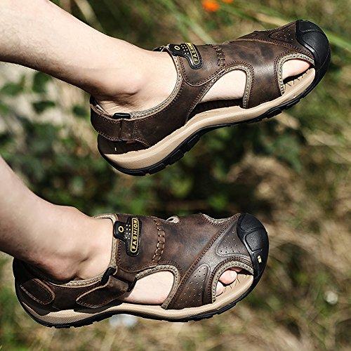 Uomini Uomini Respirabili Pattini Sportivi Sandali Outdoor Tempo libero Scarpe da Tennis antiscivolo Baotou Youth Cool Pantofole Cinghia Escursioni Pescatore Nero