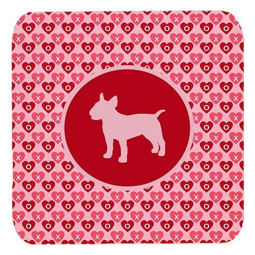 Caroline 's Treasures sdk1018-a-fc Bull Terrier Valentine Herzen Schaumstoff Untersetzer (4Stück), 8,9cm H x 8,9cm W, multicolor