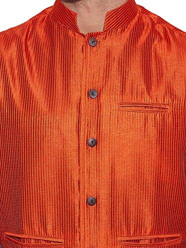 ShalinIndia Hommes Soie de faux Veste col Nehru 3 Poche avant Orange