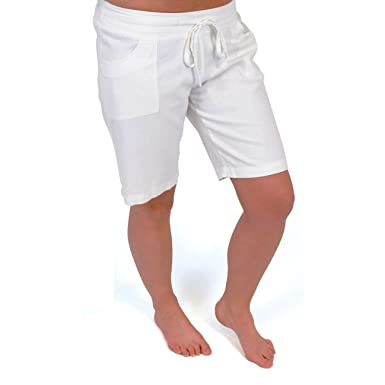 Ladies/Womens Plain Linen Shorts: Amazon.co.uk: Clothing