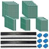 SODIAL 62 pezzi Il kit per scheda PCB include schede protette a due lati da 32 pezzi, connettore per testate da 20 poli e morsettiere a vite da 10 pz