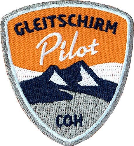 2 x Paragliding Abzeichen gestickt 55 x 60 mm / Gleitschirm Pilot / Aufnäher Aufbügler Sticker Flicken Patch / Paraglider Gleitschirm-Fliegen Flieger Flug-Gebiet fliegen Flug-Berg Alpen (orange)