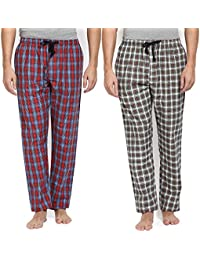 Joven Men's Cotton Checkered Multicolor Pyjama Pack of 2