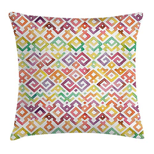 BUZRL Native American Throw Pillow Cushion Cover, Watercolor Ethnic Traditional Tribal Aztec Patterns Indigenous Culture, Decorative Square Accent Pillow Case, 18 X 18 inches, Multicolor
