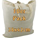 Cottonbagjoe Baumwolltaschen | 38x42 cm | unbedruckt | mit zwei kurzen Henkeln | bemalbar | Öktex 100 zertifiziert | Jutebeut