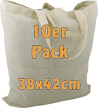 Cottonbagjoe Baumwolltaschen | 38x42 cm | unbedruckt | mit zwei kurzen Henkeln | bemalbar | Öktex 100 zertifiziert | Jutebeutel | Stofftaschen