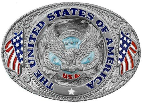 Sunrise Outlet United States of America Belt Buckle (Silver Eagle Flag)