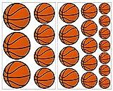 plot4u 23-Teiliges Basketball Wandtattoo Set Wandaufkleber Kinderzimmer Babyzimmer in 5 Größen (2x16x26cm Mehrfarbig)