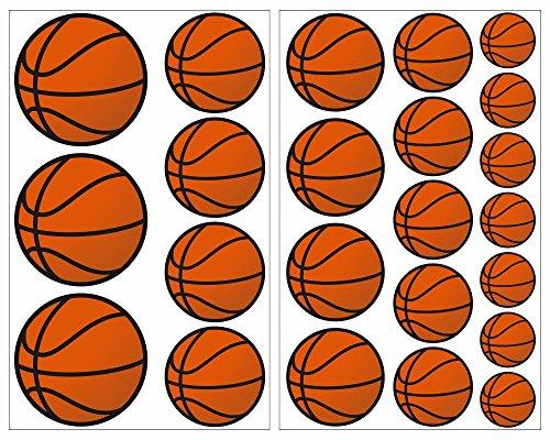 Aufkleber Basketball (23-teiliges Basketball Wandtattoo Set Wandaufkleber Kinderzimmer Babyzimmer in 5 Größen (2x16x26cm mehrfarbig))