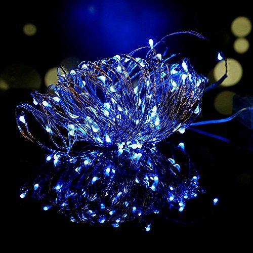 OSAN Lichterkette 10 Meter 100 LED 4.5 V Schnur Licht Light String f¨¹r Innen Aussen Garten Weihnachten Hochzeit Party Blau