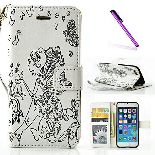 iPhone 7 Plus Hülle Bling,iPhone 7 Plus Hülle Damen,iPhone 7 Plus Hülle Glitzer,iPhone 7 Plus Hülle Flip Case PU Leather Leder Wallet Etui Cover,iPhone 7 Plus 5.5 Zoll Leder,EMAXELERS Bling Diamant Gl C Diamond Girl 5