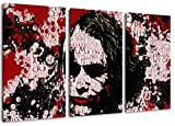 Batman 3-Teilig auf Leinwand, XXL riesige Bilder fertig gerahmt mit Keilrahmen, Kunstdruck auf Wandbild mit Rahmen