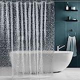 SPARIN Klar Duschvorhang Anti-Schimmel, Anti-Bakteriell, PEVA wasserdichter Badvorhang Transparent Kieselsteine [Umweltfreundlich] [Waschbar] [180x200cm], Bad Vorhang für Badzimmer