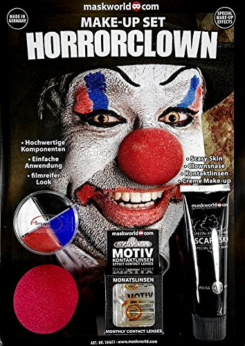 maskworld Make-up Set Horror Clown - Halloween Schminke Komplett-Set mit Kontaktlinsen ()