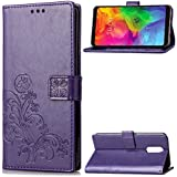 LG Q7 Protector Leather Covers Danallc Protective Skin Double Layer Bumper Shell Shockproof Impact Defender Protective Case Protector for LG Q7, Purple