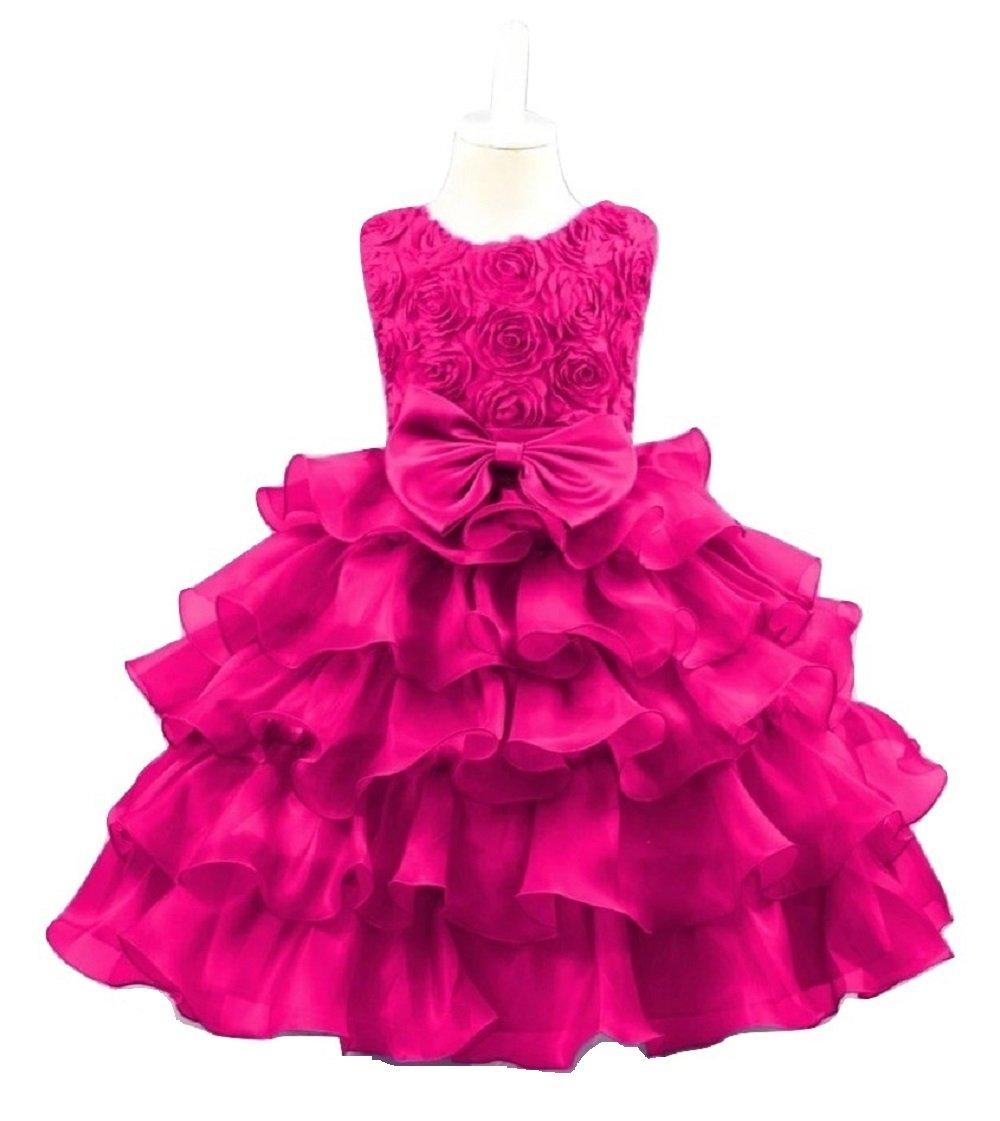 53ea397f7 Magenta- Dark Pink Flowers Girls Layered Dress Birthday Wedding ...