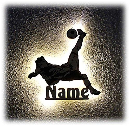 Fussball Fußball Geschenke für Männer Fußballtrainer Fußballer Junge Holz Lampe Schild mit Namen personalisiert (Fußball-kumpel)