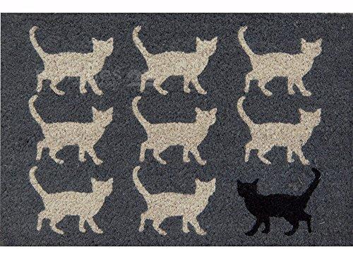 matches21 Fußmatte Fußabstreifer Kokos Türmatte Katzen schwarz & weiß 40x60x1,5 cm rutschfest