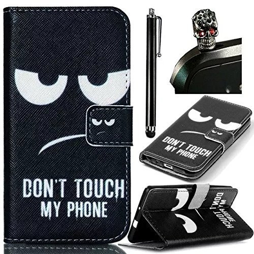 Sony Xperia Style / Sony Xperia T3 Case Cover,Vandot 3 in1 Set Elegante Lusso Sottile Flip Folio Custodia PU Leather Protector Magnete Snap-on Stile Book Stand - Eyes + Cristallo Strass Camellia Spina della Polvere e Metallo Stylus Stilo