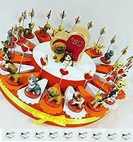 idee bomboniere battesimo, compleanno, comunione, cresima. Torta bomboniera decorata con nastro e scatoline portaconfetti, originali bomboniere, si consiglia di attaccare gli oggetti con colla a caldo o attack.