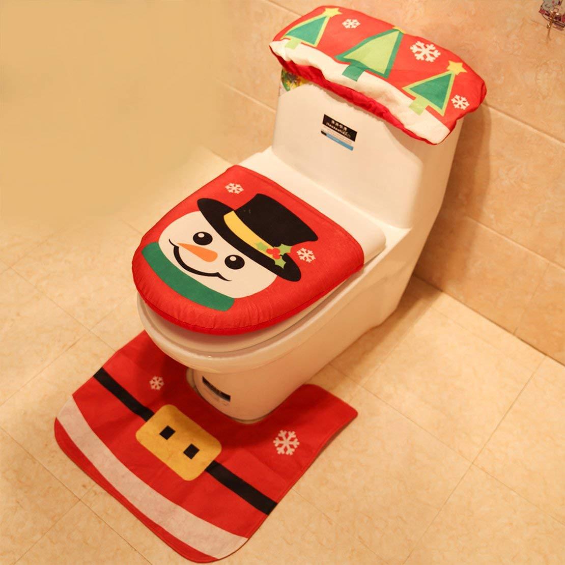 Set Bagno Babbo Natale.Babbo Natale Pupazzi Di Neve Coprivaso E Coperta Set Per Arredo
