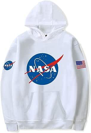 HAOSHENG Uomo Felpe con Cappuccio Colorati NASA per Fans del Aerospaziale Casuale per Ragazzi