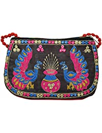 Kalakriti The Classic Women's Traditional Peacock Shining Work Sling Bag (Black)