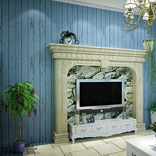 JSLCR Amerikanische ländlichen Franse Vliesstoff modernen Wohnzimmer Schlafzimmer TV Hintergrund Wand Papier Tapete einfach Grün,Blau