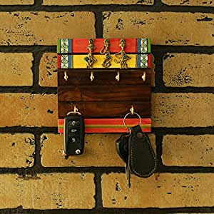 ExclusiveLane Tribal Borders Warli Hand-Painted Sheesham Wood Key Holder, Brown