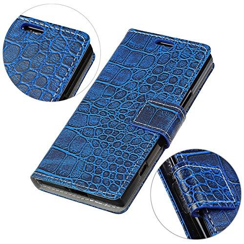 AddGuan iPhone X Case,Portafoglio Coperture Telefoniche[Coccodrillo Grano ]Cuoio PU Avanzato ,Flip Custodia Case Adatto Per iPhone X Case (Bianco) Blu