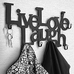 Perchero de Pared metálico con 6 Ganchos | 48 x 23 x 3 cm – Live, Love, Laugh | Colgadores de Ropa, Perchero para recibidor