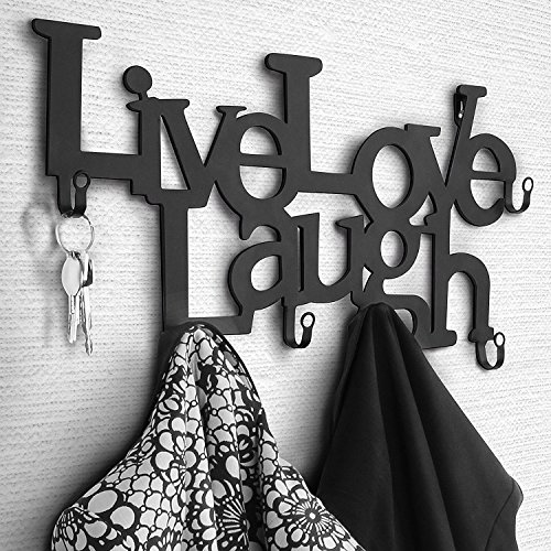 Perchero de Pared metálico con 6 Ganchos - 48 x 23 x 3 cm - Live, Love, Laugh - Colgadores de Ropa, Perchero para recibidor