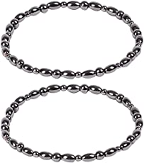 ROSENICE magnetic therapy bracelet 2pcs Healthy Care Weight Loss Anklet Magnet Bracelet Elastic Bracelet for Women and Man (Black)