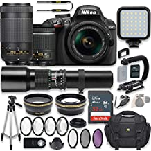 Nikon D3400 24.2 MP DSLR Camera (Black) Video Kit With AF-P 18-55mm VR Lens, AF-P 70-300mm ED VR Lens & 500mm Lens + LED Light + 32GB Memory + Filters + Macros + Deluxe Bag + Professional Accessories