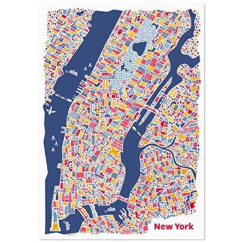 Affiche de New York Carte illustrée (50x70cm) Plan de ville poster avec les attractions Statue de la Liberté, Brooklyn Bridge, Central Park, le Guggenheim et L'Empire State Building