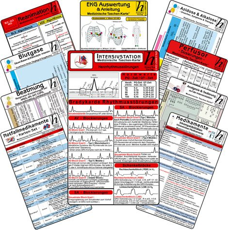 Intensiv-Station Karten-Set - professional (12er Set): Analgesie & Sedierung, Blutgase & Differentialdiagnose, Herzrhythmusstörungen, Inkompatibilitäten intravenöser Medikamente, Reanimation