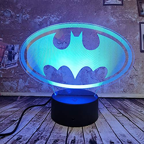Lampe d'illusion visuelle 3d de wangZJ/lumière de nuit 3d / 7 couleurs tactiles/lumière de nuit illusion d'enfants 3d / cadeau de noël /Batman