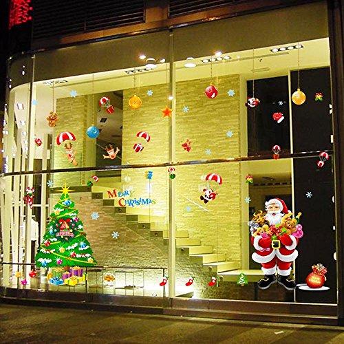ZhenFa Wandtattoo Weihnachtsbaum Santa Fenster Aufkleber Glas Fenster Hintergrund Dekoration abnehmbare Wandtattoo - Santa-fenster