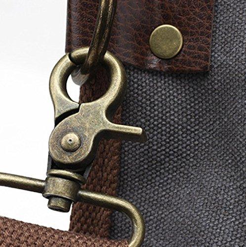 Retro Segeltuch-Tote-Handtasche Großer Schulter-Beutel Crossbody Geldbeutel-Beutel Für Männer Und Frauen Grau,Khaki Gray