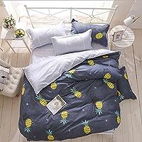 YGJT Juego Ropa de Cama para Niños 4 piezas 1 Funda del edredón 2 Funda de la almohada y 1 sábana Forma Piña Color Azul Oscuro y Amarillo