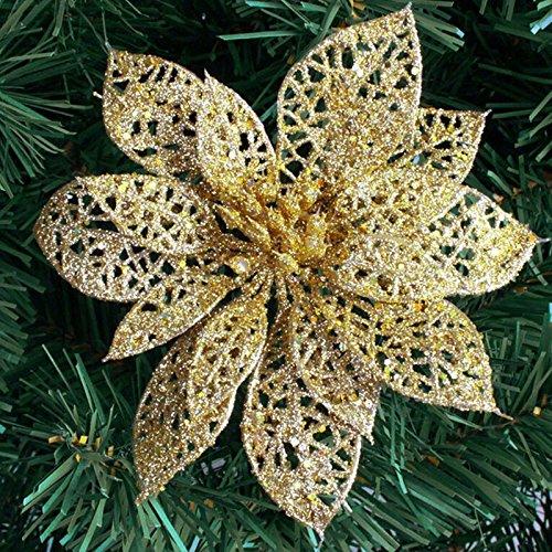 BESTIM INCUK TM) Christmas Tree Ornaments Glitter Hollow Wedding Party Decor Christmas Flowers
