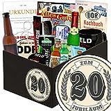 Zum 20. Jubiläum | Mann Geschenkbox | Geschenkset | Zum Jubiläum | Männer Paket | 20 Jähriges Jubiläum Geschenk | Geschenk 20 hochzeitstag | GRATIS DDR Kochbuch