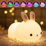 Veilleuse Portable Enfant, Veilleuse 7 Couleurs LED Lampe de lapin en Silicone, USB Rechargeable Petit lapin Mignon Lampe à C