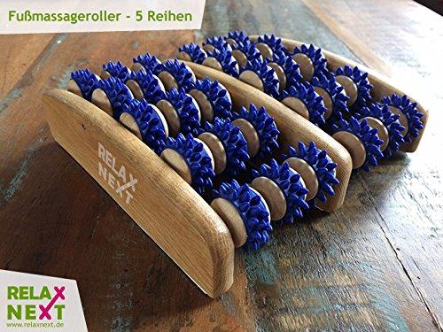 Fussmassageroller aus Holz – Reflexzonen Fussmassagegerät – RELAX NEXT, Zweifuß Holz Massage-Roller – auch als Geschenk