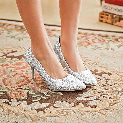Mee Shoes Damen Stiletto Pailleten Geschlossen Pumps Silber