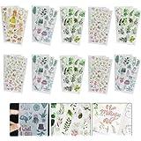 GOLRISEN 30 Pcs Autocollant Déco Stickers Autocollant Adhésif Décoratif Stickers Fleurs Feuille Autocollant Feuilles Scrapboo