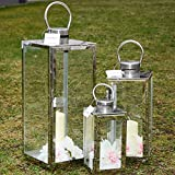 Systafex 846Kit de 3lanterne de jardin de lanterne ml. Lanterne de jardin en acier inoxydable résistant aux intempéries Jardin Lampe Bougeoir Bougeoir Photophore Photophore